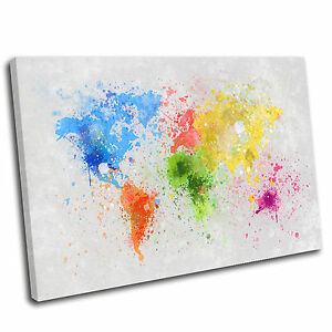Abstract world map canvas print wall art picture multicoloured 7 image is loading abstract world map canvas print wall art picture gumiabroncs Images