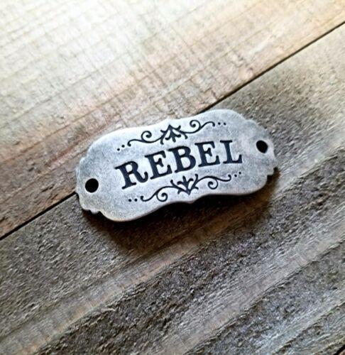 Conector colgante de cotización vínculo de plata Antiqued había Conector Curvado Colgante palabra rebelde
