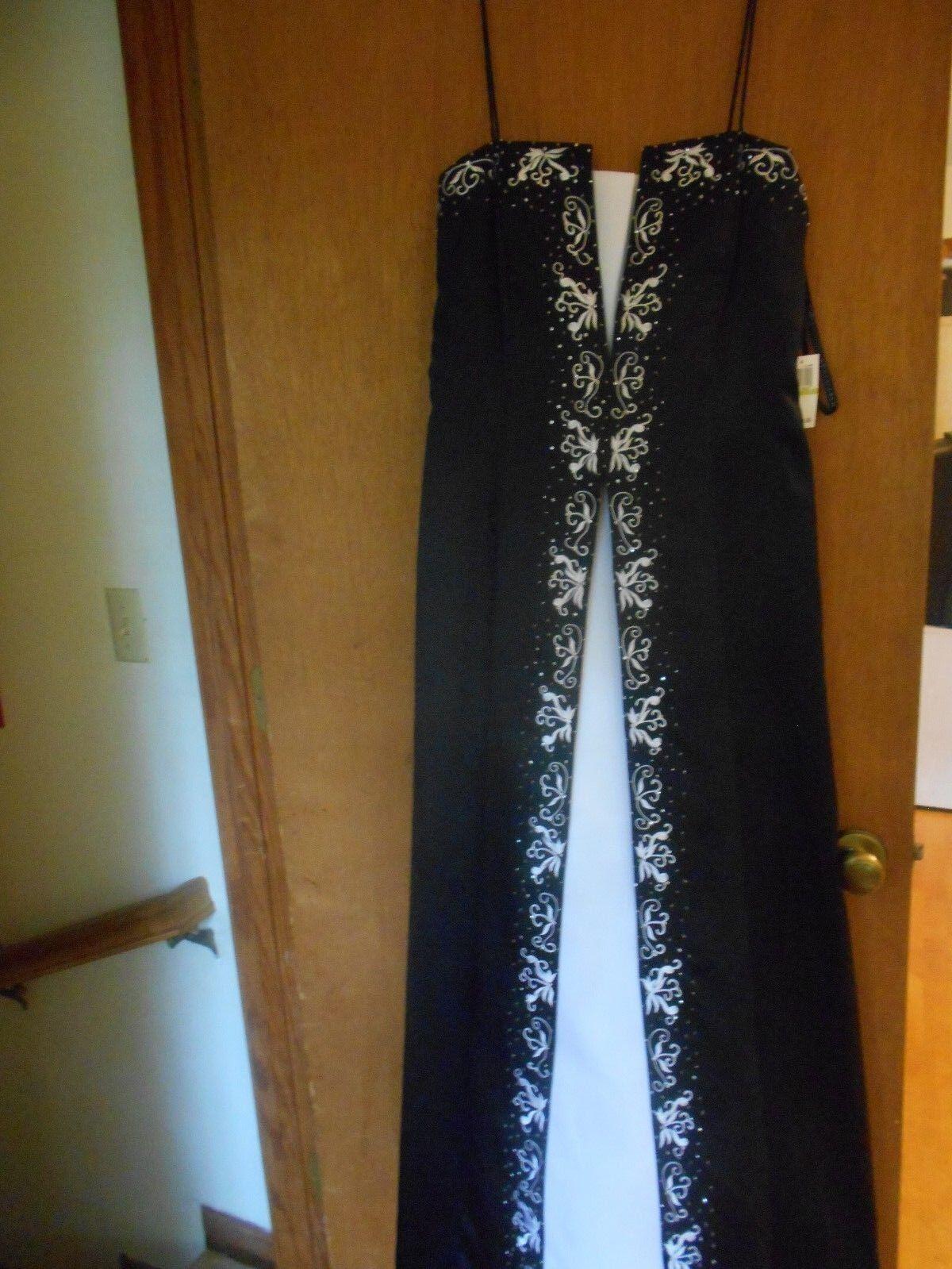 New damen NIKI LIVAS schwarz Long Gown Dress & Wrap Crinolin Slip Sz 14.