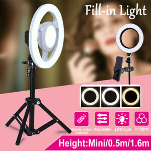 10'' Dimmable LED Ring Lights Stand Makeup Phone 5V USB Video Live Lam