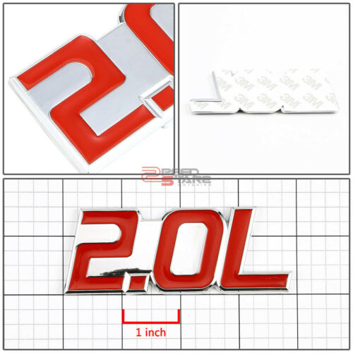 AUTO METAL BUMPER TRUNK GRILL FENDER EMBLEM STICKER BADGE CHROME RED 2.0 2.0L