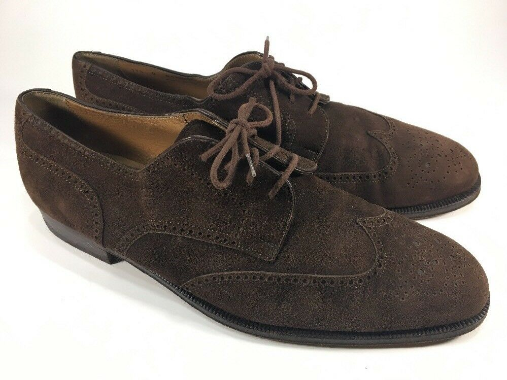 Bally  550 Uomo Banbury Brown Suede Wingtip Oxford Dress Shoes Uomo 550 Size 11.5 D f5c4fc