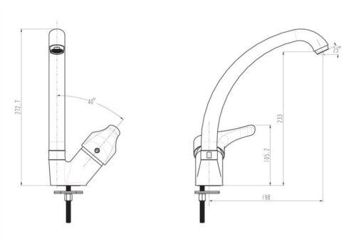 Cosa Royal ATTICA Küchen Spülbecken Spültisch armatur Einhebelmischer chrom L2