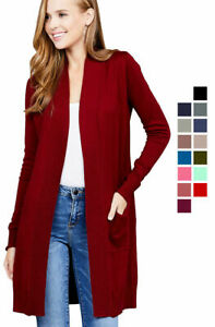 Women-Cardigan-Open-Front-Draped-Sweater-Long-Length-Rib-Banded-w-Pockets