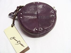 NEW-JUNIOR-DRAKE-LIZARD-LEATHER-EMBER-SMALL-ROUND-CHAIN-SHOULDER-BAG-EGGPLANT