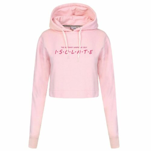 Isolate Birthday Quarantine  Funny Ladies Crop Hoodies Pull Over Present Gift