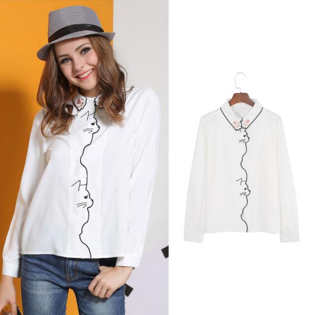WOMEN Lolita Neko Atsume Cat Paw Embroidered Collar BlouseLong Sleeve Shirt Top