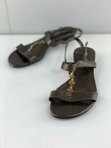 Hush Puppies Womens Fiji Brown Leather Strappy Wedge Heels Open Toe Size 8.5