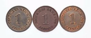 1876-A, 1889-A & 1892-A Germany 1 Pfennig Lot of 3 Coins (XF-AU Condition)