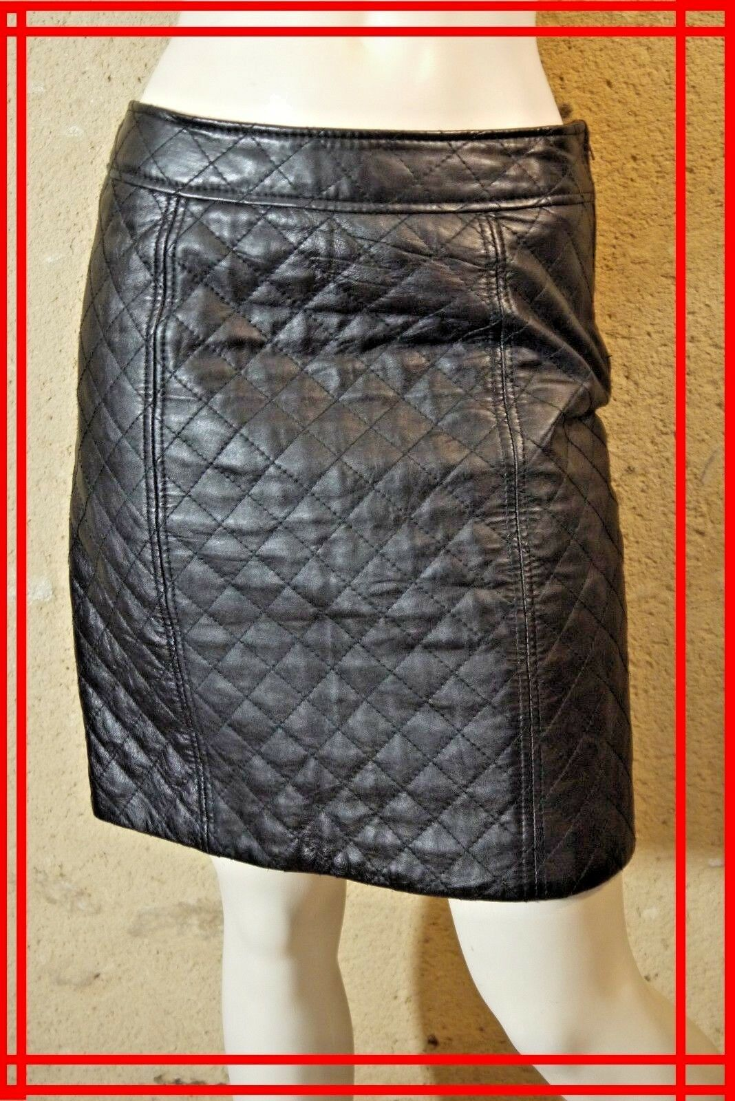 CAROLL Dimensione 36 36 36 Superbe jupe doublée neroe en CUIR MOUTON leather skirt 6576c7