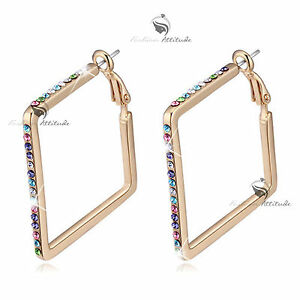 18k-yellow-gold-gp-made-with-SWAROVSKI-crystal-hoop-stud-earrings-hoops-colorful