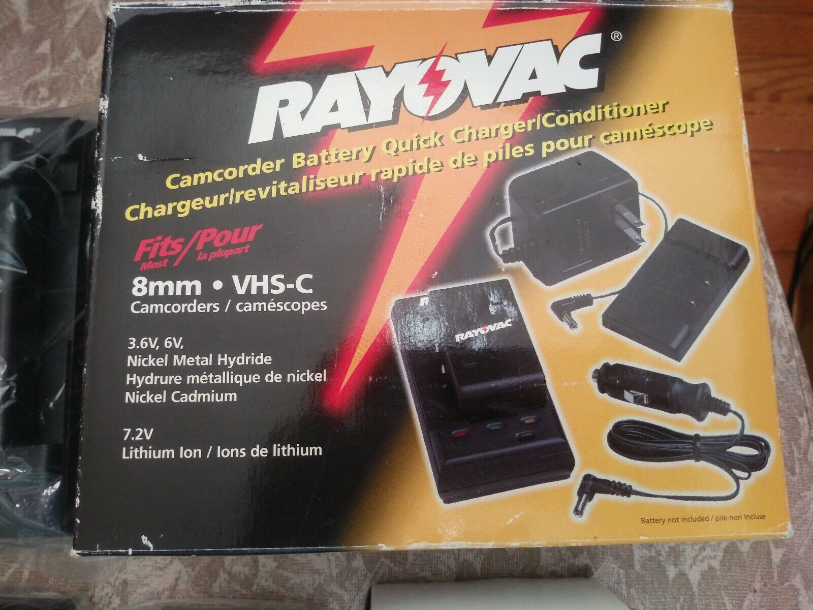 NEW Rayovac Camcorder Battery Quick Charger & Conditioner, AC Adaptor, Car cord,