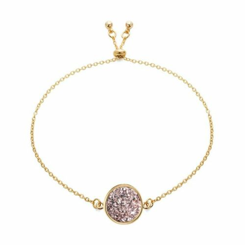 18K Gold Plated Crystal Round Chain Bracelet Women Adjustable Bangle Jewelry NEW