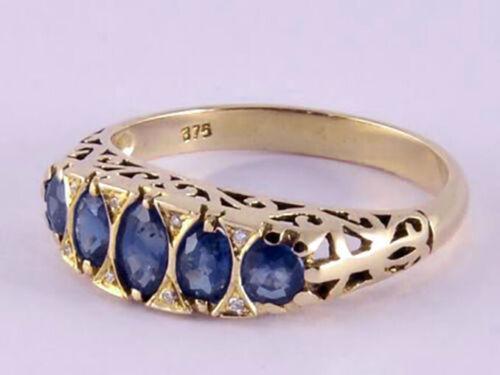 18K Solid Gold Natural Sapphire /& Diamond Eternity Ring 10K R307 Genuine 9K