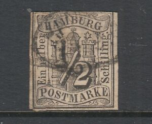 Hamburg-Sc-1-used-1859-s-black-Numeral-imperf-3-margins-thin
