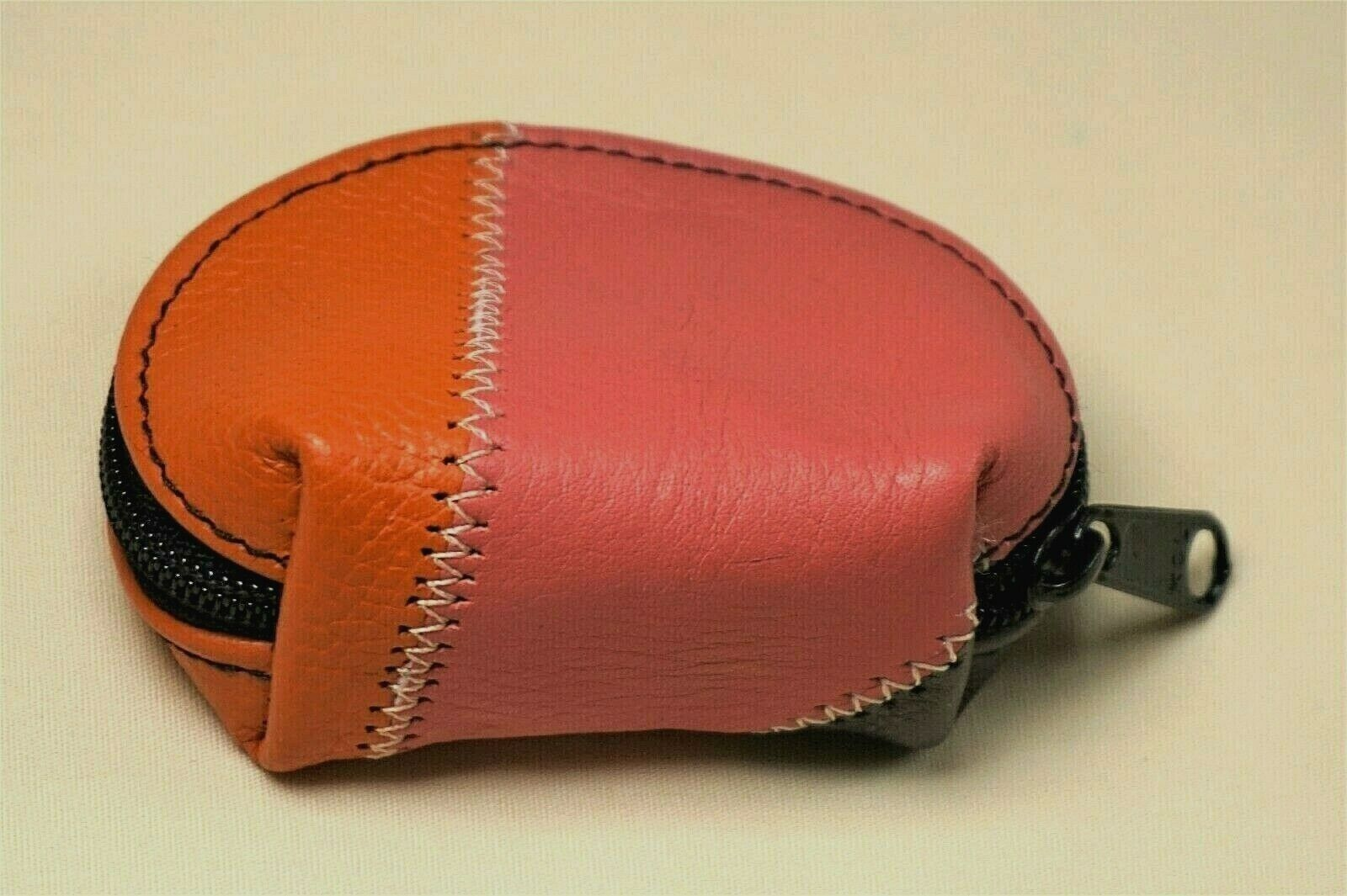 New Leather Sheepskin Handmade Color Mini Zipper Coin Patchwork Pouch Purse 3x2