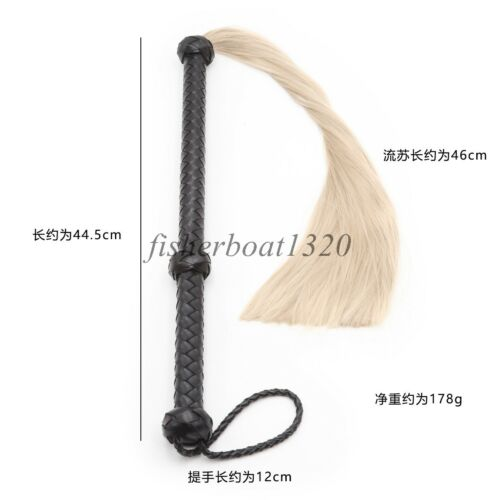 Real//Faux Horsetail Whip Leather Flogger Restraint  Adult Game Toy Tails Slave