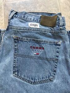 Vintage Tommy Hilfiger Para Hombre Medium Blue Jeans Bolsillos Bordados Talla 40 Ebay
