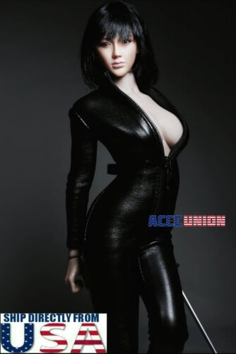 """1//6 One Piece Black Leather Jumpsuit For 12/"""" PHICEN Hot Toys Female Figure USA"""