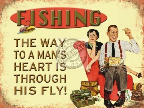 Fishing Garage or Shed Medium Metal Tin Sign Flys Tackle 50s Retro Humor Funny