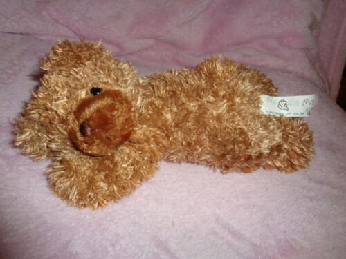 Bear Brown Laying on Belly by Princess Soft Toys 2007 silky stuffed plush bean