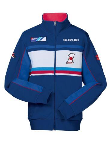 Genuine Suzuki Team GSX-R Mens Retro Casual Sweat Jacket Logo Branded Blue