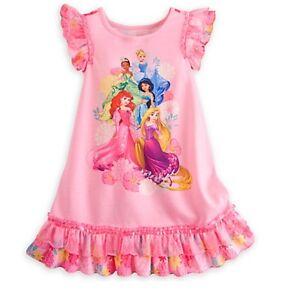 d37b7f0c36 Disney Store Princess NightGown Pajamas sz 5 6 7 8 Rapunzel Ariel ...