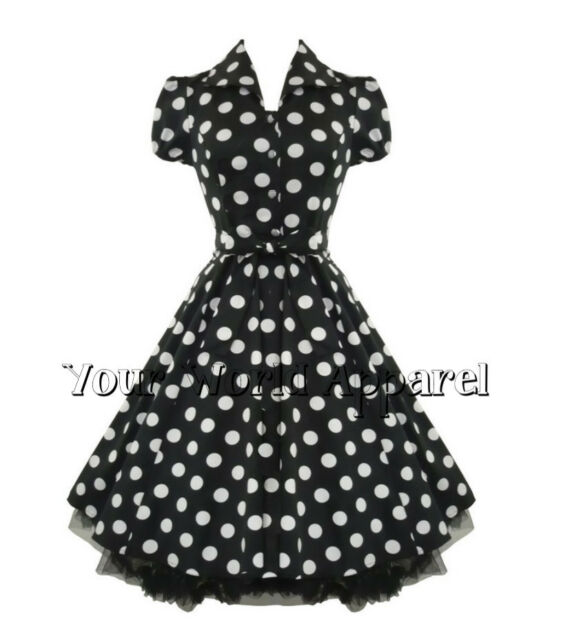H&R LONDON BLACK BIG WHITE POLKA DOT PINUP SWING 1950's HOUSEWIFE DRESS VINTAGE