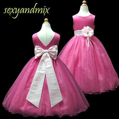 USMD59A Hot Pink + Pink *Floor-Length* Wedding Flower Girls Dress 1 to 13 Yrs