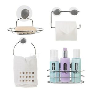 Chrome-Suction-Shower-Bathroom-Towel-Ring-Toilet-Paper-Soap-Holder-Wall-Rack