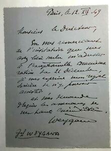 Lettre autographe signée du Général WEYGAND datée du 12 décembre 1949