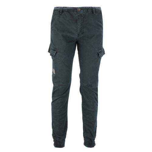 Mens Combat Cargo Trousers Washed Cotton Work Casual Pant Elastic Cuffed Zip Hem
