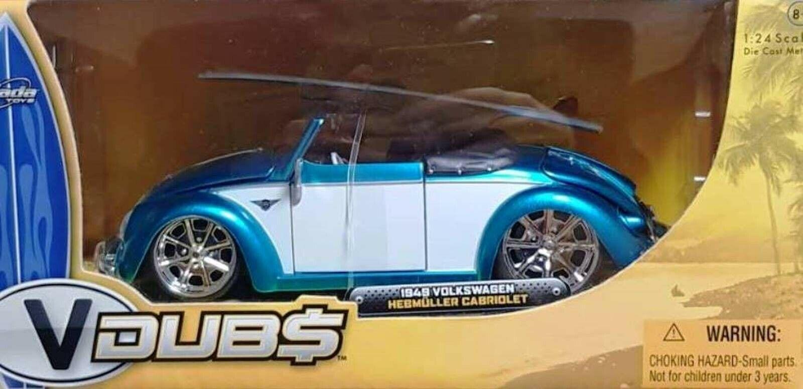 Wow extrêmeHommest rare VW COCCINELLE HEBMULLER Tuning  Cabriolet 1949 bleu Whit 1 24 Jada  pas de taxes