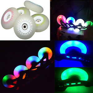 LED Inline Roller Skate Wheel Rollerblade PU Wheels 72/76/80mm,90A,4pcs