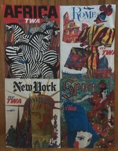 Details about TWA travel Poster Collage David Klein 1960's Pin-up Africa  Rome New York Spain