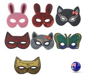 Women Children Sequins Fox Wolf Animal Costume Party Fancy Dance Eye Face Mask