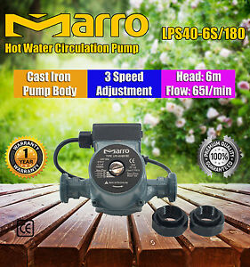 Marro-3-Speed-Hot-Water-Circulation-Booster-Pump-Cast-Iron-Pump-Body-Low-Noise