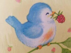 Hallmark-Party-Invitations-Invite-Baby-Blue-Bird-w-Raspberries-1-pkg-8-invites