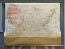 Rare Vintage Tectonic Map Classroom US Pull Down Wall Map United States Geology