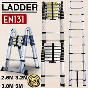 2.6M 3.2M 3.8M 5M Multi-Purpose Aluminium Telescopic Ladder Extension Extendable