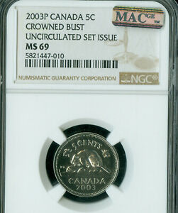 2003-P-CANADA-CROWN-BUST-5-CENTS-NGC-MS68-PQ-SOLO-FINEST-GRADED-MAC-SPOTLESS