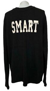 SMART-TURNOUT-LONDON-MEN-039-S-BLACK-039-SMART-039-LOGO-WOOL-SWEATER-L