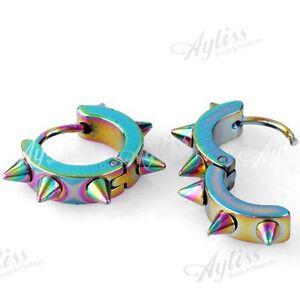 1-Pair-Colorful-Hoop-Spike-Stud-Men-039-s-Earring-0-9mm-Pin-Stainless-Steel