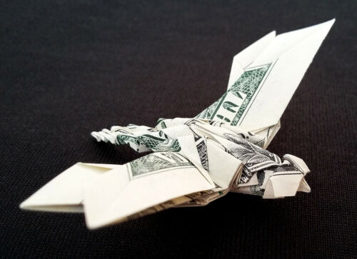 Money Dollar Origami DRAGONFLY Animal Insect Charm Pin Gift Real $1 Bill Decor