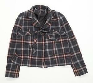 Topshop-Womens-Size-10-Wool-Blend-Tartan-Grey-Button-Up-Tie-Front-Jacket