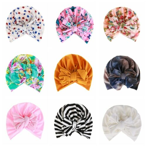 Soft Head Wraps Bowknot Indian Turban Floral Caps Cute Baby Hat Beanies