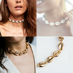 Cowrie-Shell-Choker-Natural-Shell-Necklace-Gold-Adjustable-Beach-Bloggers-Fav-SO