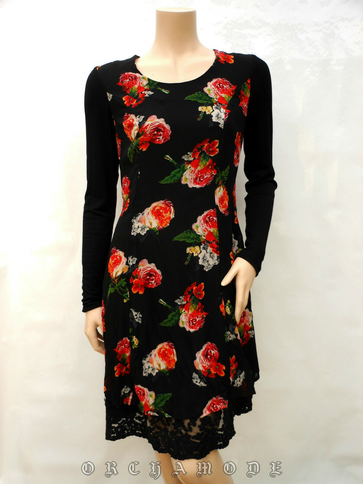 Robe MY DESIGN T 40 L 3 schwarz Floral Volant dentelle Manche Fête Dress Kleid NEUF