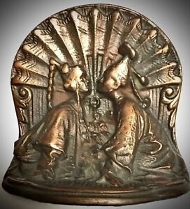 Pr-Antique-Asian-ABOUT-TO-BE-KISSING-COUPLE-Bookends-Copperplated-Cast-Iron-NR