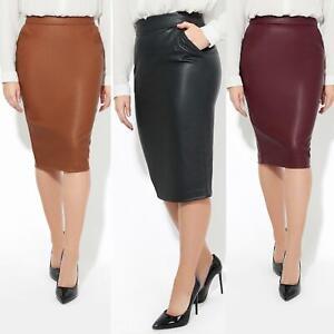 951bbb76eb Image is loading Womens-Ladies-Leather-Pencil-Skirt-Stretch-PU-Midi-